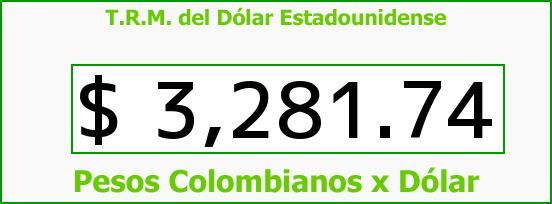 T.R.M. del Dólar para hoy Lunes 25 de Enero de 2016