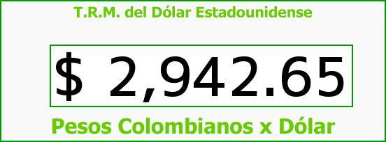 T.R.M. del Dólar para hoy Lunes 25 de Julio de 2016