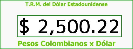 T.R.M. del Dólar para hoy Lunes 25 de Mayo de 2015