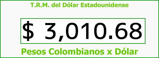 T.R.M. del Dólar para hoy Lunes 26 de Junio de 2017