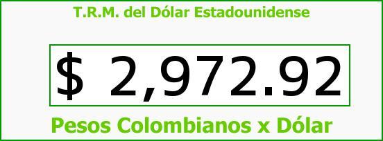 T.R.M. del Dólar para hoy Lunes 27 de Junio de 2016