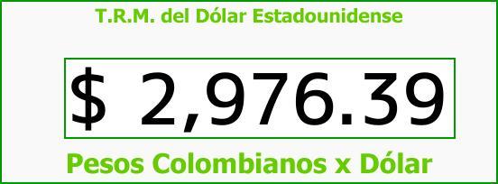 T.R.M. del Dólar para hoy Lunes 27 de Noviembre de 2017