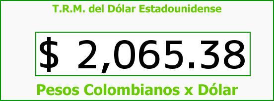 T.R.M. del Dólar para hoy Lunes 27 de Octubre de 2014