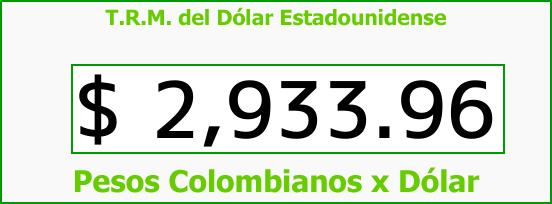 T.R.M. del Dólar para hoy Lunes 28 de Agosto de 2017