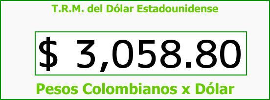 T.R.M. del Dólar para hoy Lunes 28 de Marzo de 2016