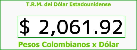 T.R.M. del Dólar para hoy Lunes 3 de Noviembre de 2014