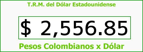 T.R.M. del Dólar para hoy Lunes 30 de Marzo de 2015