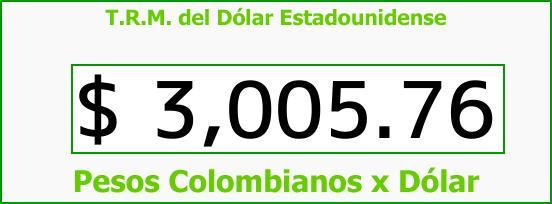 T.R.M. del Dólar para hoy Lunes 4 de Diciembre de 2017