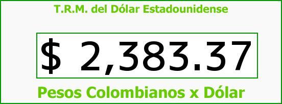 T.R.M. del Dólar para hoy Lunes 5 de Enero de 2015