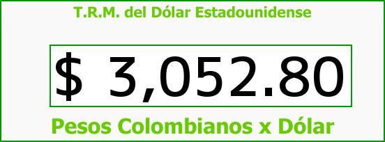 T.R.M. del Dólar para hoy Lunes 8 de Agosto de 2016