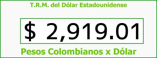 T.R.M. del Dólar para hoy Lunes 9 de Enero de 2017
