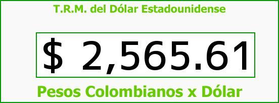 T.R.M. del Dólar para hoy Lunes 9 de Marzo de 2015