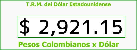 T.R.M. del Dólar para hoy Martes 10 de Noviembre de 2015