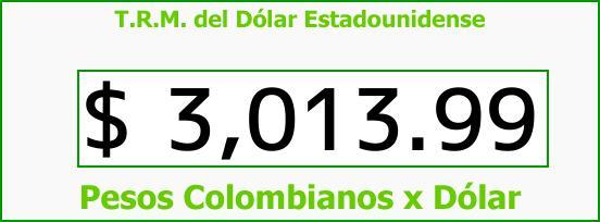 T.R.M. del Dólar para hoy Martes 12 de Diciembre de 2017