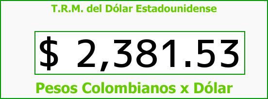 T.R.M. del Dólar para hoy Martes 12 de Mayo de 2015