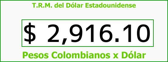 T.R.M. del Dólar para hoy Martes 12 de Septiembre de 2017