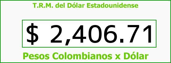 T.R.M. del Dólar para hoy Martes 13 de Enero de 2015