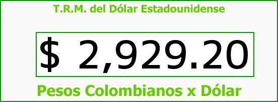 T.R.M. del Dólar para hoy Martes 13 de Junio de 2017