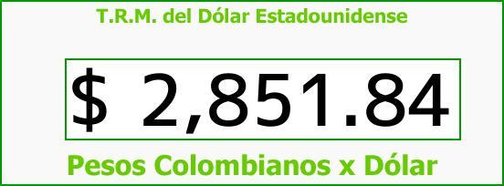 T.R.M. del Dólar para hoy Martes 13 de Marzo de 2018