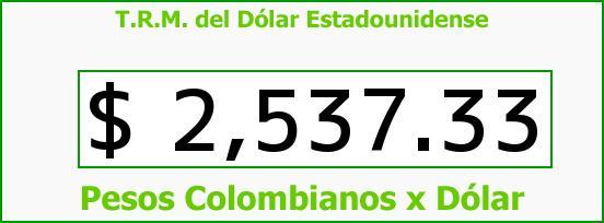 T.R.M. del Dólar para hoy Martes 14 de Abril de 2015