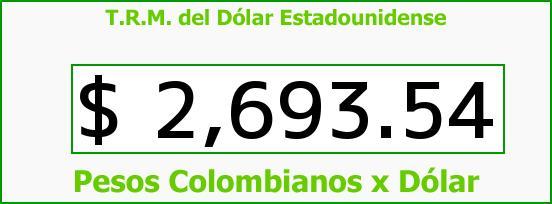 T.R.M. del Dólar para hoy Martes 14 de Julio de 2015