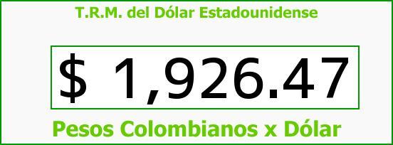 T.R.M. del Dólar para hoy Martes 15 de Abril de 2014
