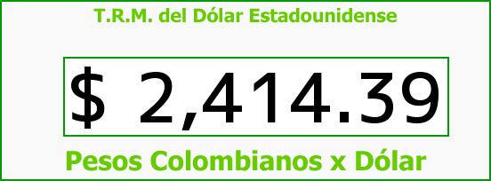 T.R.M. del Dólar para hoy Martes 16 de Diciembre de 2014