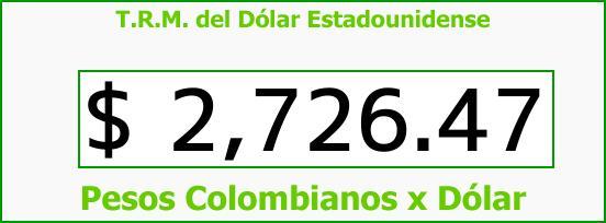T.R.M. del Dólar para hoy Martes 17 de Abril de 2018
