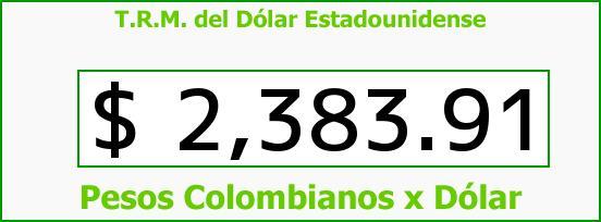 T.R.M. del Dólar para hoy Martes 20 de Enero de 2015
