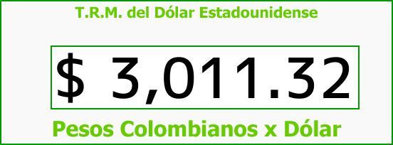 T.R.M. del Dólar para hoy Martes 21 de Noviembre de 2017