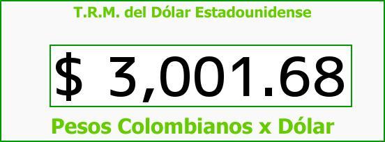 T.R.M. del Dólar para hoy Martes 22 de Septiembre de 2015