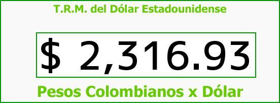 T.R.M. del Dólar para hoy Martes 23 de Diciembre de 2014