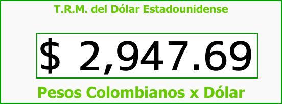 T.R.M. del Dólar para hoy Martes 24 de Octubre de 2017