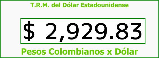 T.R.M. del Dólar para hoy Martes 25 de Octubre de 2016