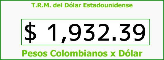 T.R.M. del Dólar para hoy Martes 26 de Agosto de 2014