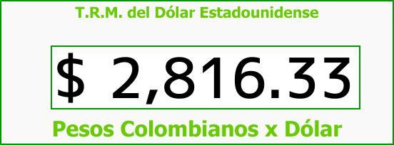 T.R.M. del Dólar para hoy Martes 27 de Marzo de 2018