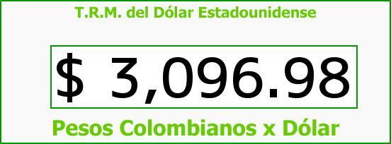 T.R.M. del Dólar para hoy Martes 29 de Septiembre de 2015