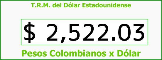 T.R.M. del Dólar para hoy Martes 3 de Marzo de 2015