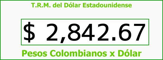 T.R.M. del Dólar para hoy Martes 30 de Enero de 2018