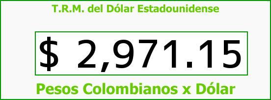 T.R.M. del Dólar para hoy Martes 6 de Octubre de 2015