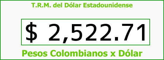 T.R.M. del Dólar para hoy Martes 7 de Abril de 2015