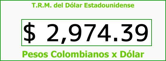 T.R.M. del Dólar para hoy Martes 8 de Agosto de 2017