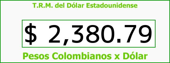 T.R.M. del Dólar para hoy Miércoles 11 de Febrero de 2015