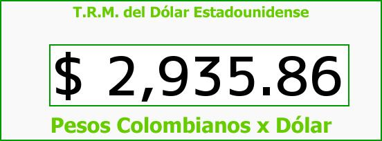 T.R.M. del Dólar para hoy Miércoles 11 de Noviembre de 2015