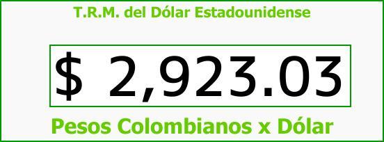 T.R.M. del Dólar para hoy Miércoles 13 de Septiembre de 2017