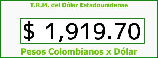 T.R.M. del Dólar para hoy Miércoles 14 de Mayo de 2014