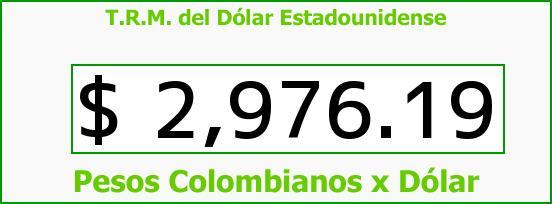 T.R.M. del Dólar para hoy Miércoles 14 de Septiembre de 2016