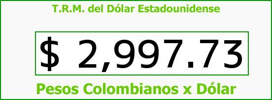 T.R.M. del Dólar para hoy Miércoles 15 de Marzo de 2017