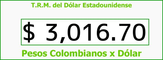 T.R.M. del Dólar para hoy Miércoles 15 de Noviembre de 2017