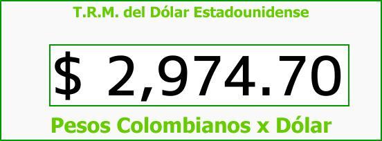 T.R.M. del Dólar para hoy Miércoles 16 de Agosto de 2017